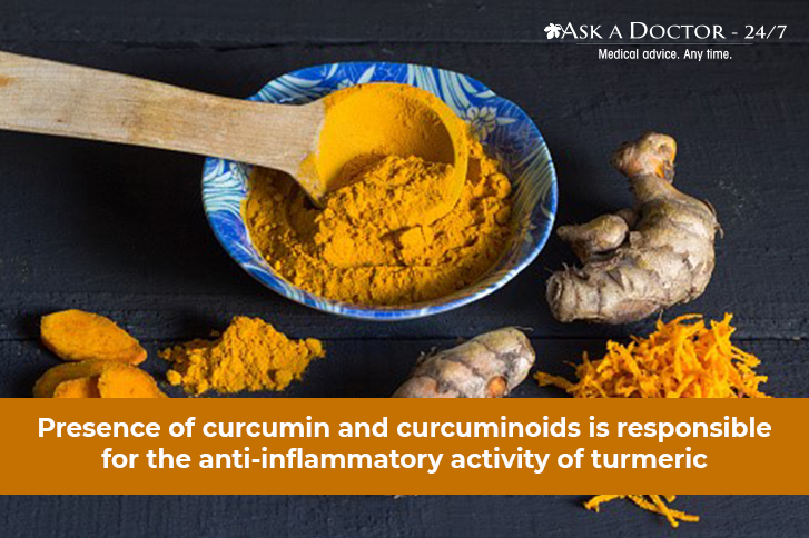 raw turmeric and in powdered form=